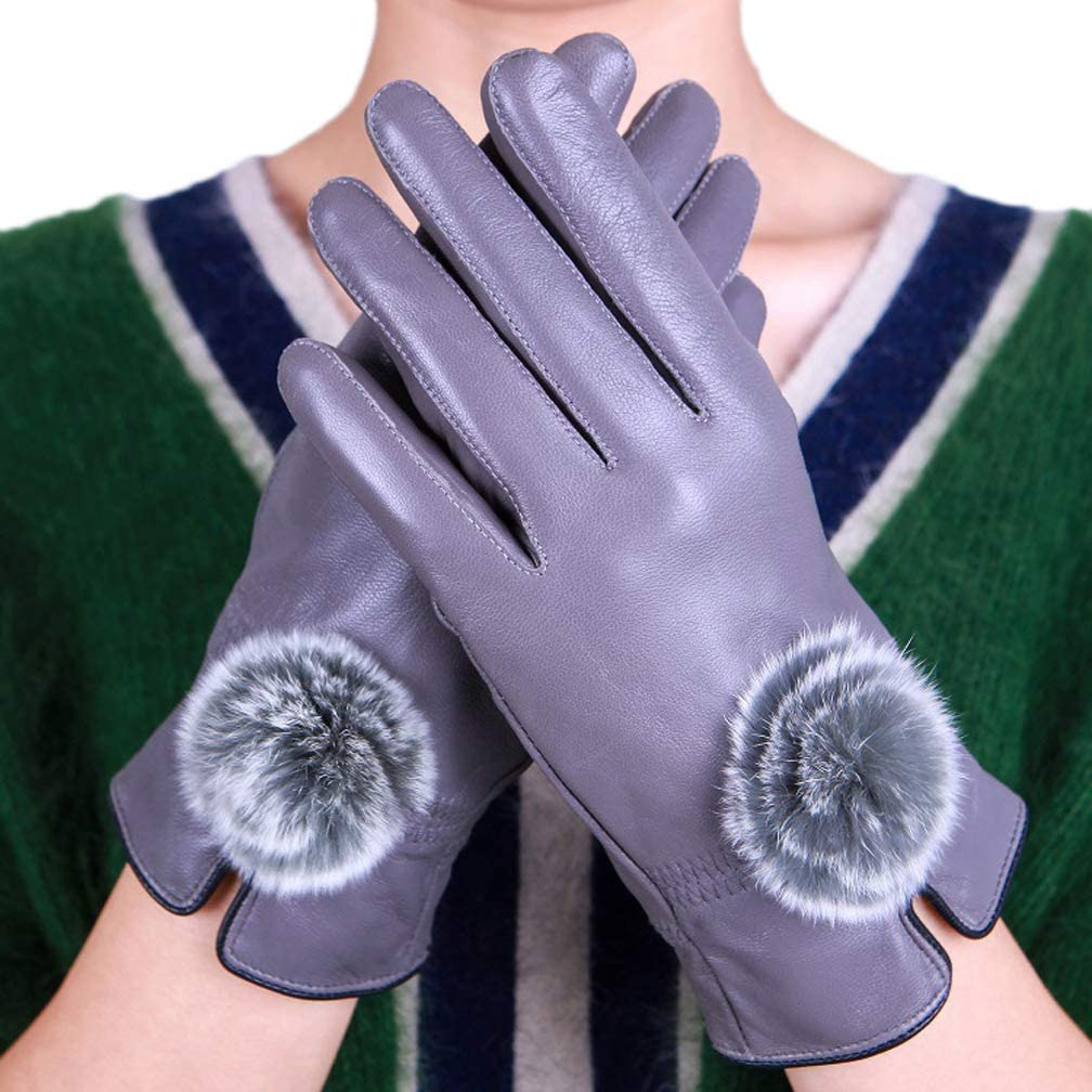 Telamee 2018 Womens Winter Gloves Real Leather Lambskin Driving Gloves Mittens