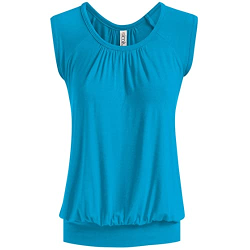 9dde1275179 Short Sleeve Top Loose Fit Top for Women Scoop Neck Gathered Banded Shirt -  USA