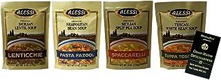 Alessi Athentic Italian Soup Mix 4 Flavor Variety Plus Recipe Booklet Bundle, (1) each: Tuscan White Bean, Sicilian Lentil, Sicilian Split Pea, Neapolitan Bean (6 Ounces)