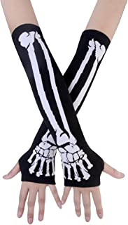 JISEN Women Punk Winter Knitted Stretchy Soft Arm Warmer Fingerless Gloves