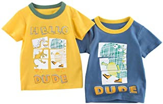 Camiseta para Niños Pack de 2 T-Shirt Manga Corta Dinosaurio de Dibujos Animados Algodón Tops Trajes de Verano