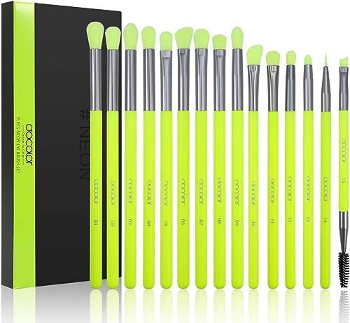 Docolor Eyeshadow Brush Set 15Pcs Neon Green Eye Makeup Brushes Professional Eye Shadow Blending Concealer Eyebrow Ey...