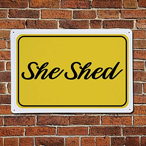 43LenaJon Yellow She Shed Vintage Street Quotes Metal sign,Retro Saying words Sign,Rustic Traffic Warning Bar Men Cave Garden Wall art,Farmhouse Aluminum Sign,home decor