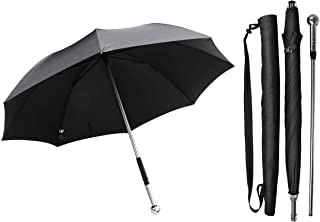 Safety Umbrella with Separable Steel-handle Stick for Emergency Defense, 2-in-1 Multifunctional Walking Umbrella Security Protection for Elderly Women Climbing Hiking Outdoor Travel