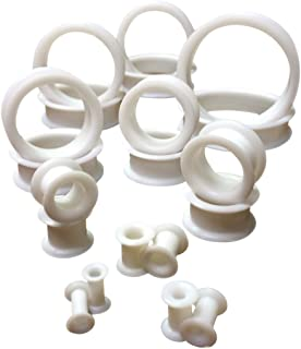Lobal Domination Pair of White Soft Silicone Ear Tunnels Plugs - up to Size 50mm!