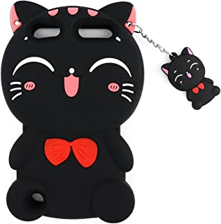 iPod Touch 6 Case, iPod Touch 5 Case, 3D Cute Cartoon Lucky Fortune Cat Kitty Shaped Soft Rubber Silicone Shockproof Case Protector Skin Cover for iPod Touch 6th / 5th Generation (Black Kitty)
