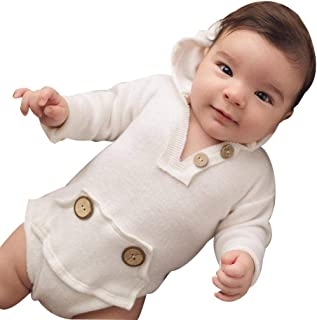 GoodLock Baby Boys Fashion Romper Newborn Long Sleeve Hooded Button Romper Jumpsuit Clothes Outfits