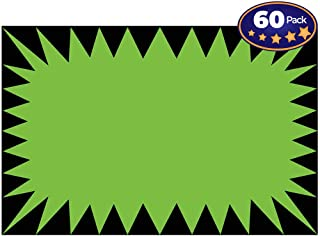 Retail Genius Price Burst 60 Green Sign Pack. Boost Sales with Bright Display Tags. Durable, Easy to Write On Star Cards Are For Yard, Estate & Garage Sale, Fundraiser, Store, Business & Flea Market.