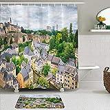 LISNIANY Conjunto De Ducha Cortina Alfombra,Vista de la Zona del Casco Antiguo Tour por la Ciudad de Luxemburgo Foto panorámica Europea,Uso en baño, Hotel