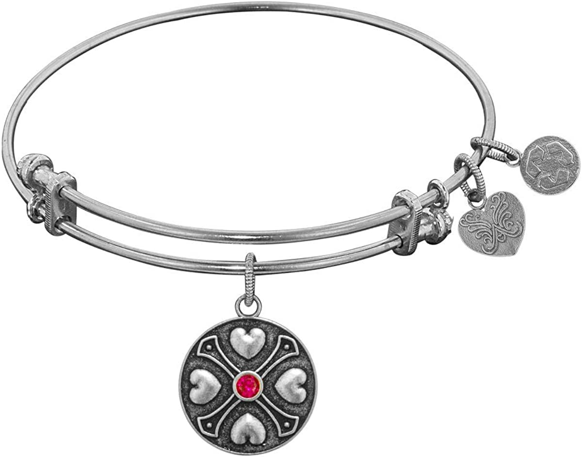 Jewelry Affairs Finish Brass July Birthstone Angelica Bangle Bracelet, 7.25