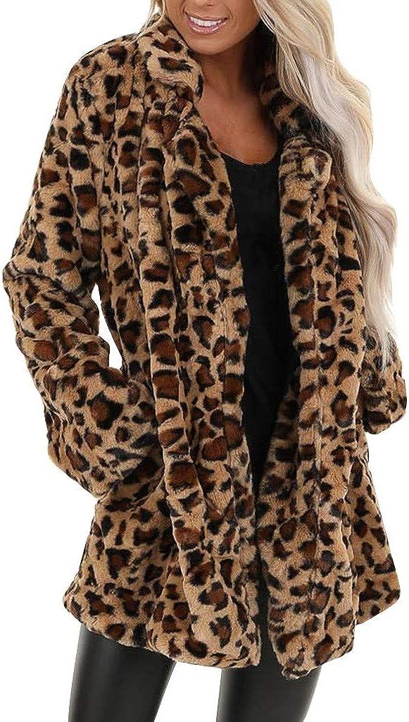 Women's Leopard Fuzzy Coat Loose Fit Pocket Lapel Cardigan Warm Winter Oversized Hoodies Outwear Sweatshirt