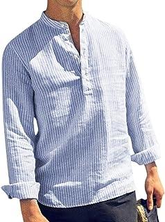 HX fashion Hombres Camisetas Manga Botón Larga Casual Primavera Estampado De Tamaños Cómodos Rayas Azules Jersey Flojo Blu...