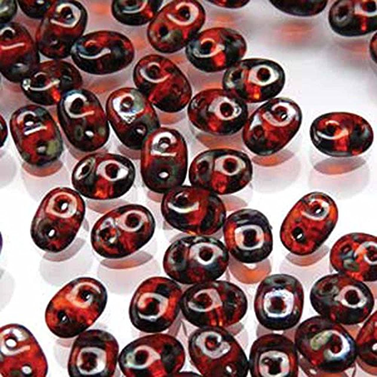 Hyacinth Picasso SuperDuo Czech Two Hole Seed Beads 2.5x5mm Approx 20 Grams