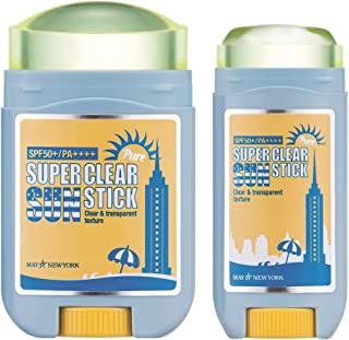 May NewYork Sunscreen Stick x2PACK Super Clear Pure Sunstick SPF50+ PA++++ - Convenient Stick Type Defense Against UV Rays and Sunburn - Water and Sweat Proof/Easy Glide on Skin (0.60oz+0.77oz) …