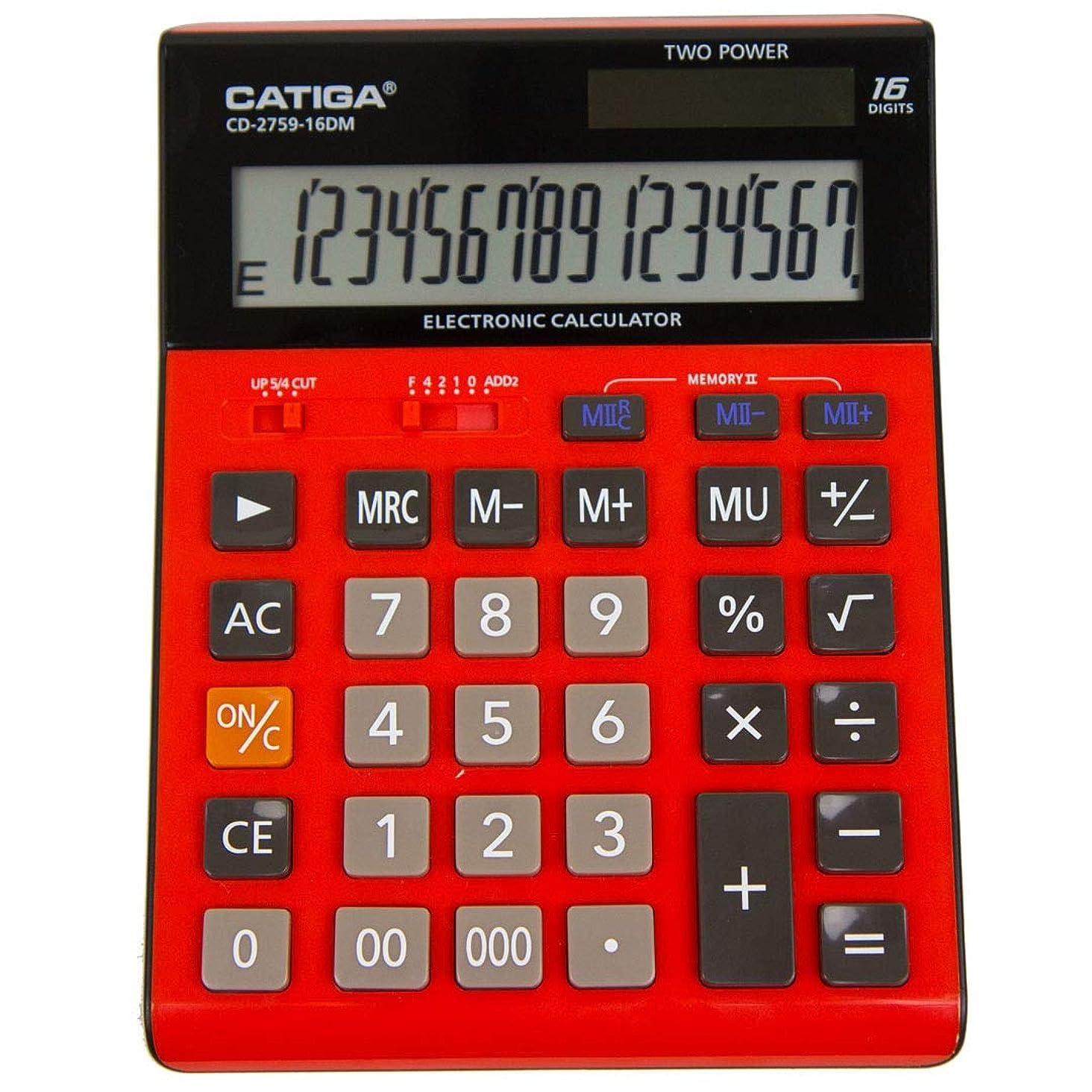 収縮群衆指定大型16桁液晶ディスプレイ電卓 - CD-2759 - デュアルパワーデスク電卓 (レッド)