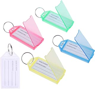 100 pcs Classified Tag Luggage Assorted Color Plastic Key Chain Labels for Pets Hotel Home Office Key Cabinet
