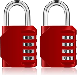 Combination Padlocks, 4 Digit Number Code for Gym Lock, School Lock, Locker Lock, Employee Lock(Red, Pack of 2)
