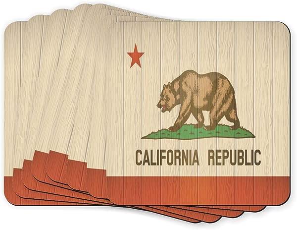 3 5 Inch Soft Square Coasters Art X8 California Flag On Wood Design