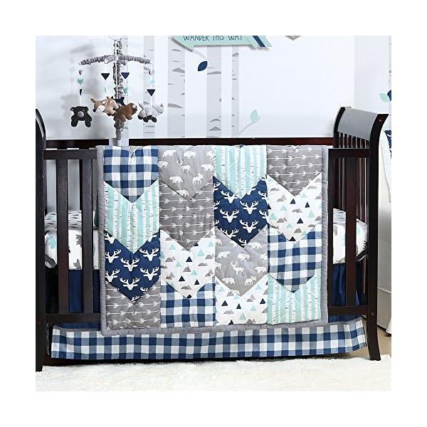 Woodland Trail 4 Piece Forest Animal Theme Patchwork Baby Boy Crib Bedding Set – Navy Blue Plaid