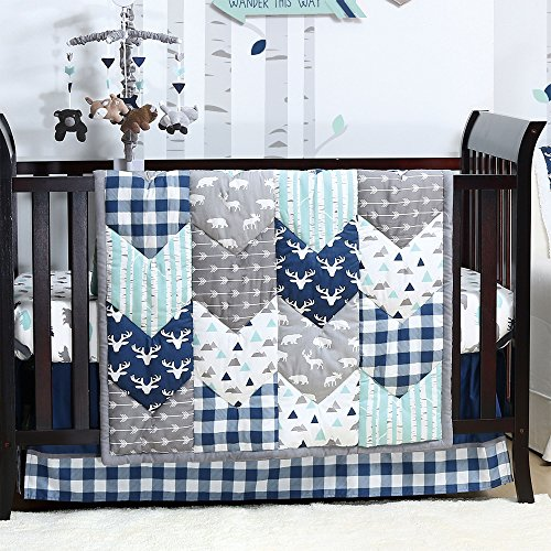 Woodland Trail 4 Piece Forest Animal Theme Patchwork Baby Boy Crib Bedding Set