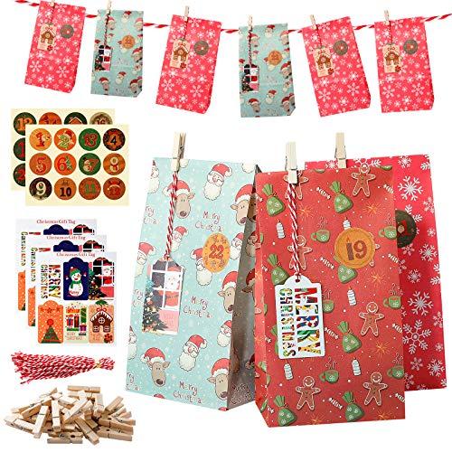 Bolsas de Navidad, 24 piezas de regalo de agradecimiento de Navidad Multipack Pequeñas Bolsas de papel Kraft Bolsas de regalo para Navidad Fiesta Favores Decoraciones con pegatinas de cuenta atrás
