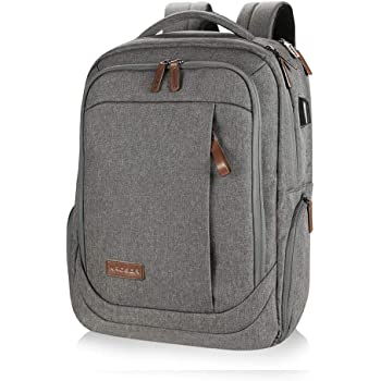 KROSER Laptop Backpack Large Computer Backpack Fits up to 15.6 Inch Laptop with USB Charging Port Water-Repellent School Travel Backpack Casual Daypack for Business/College/Women/Men-Grey