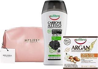 EQUILIBRA Kit : Carbone Attivo Shampoo Detox - Argan Crema Viso Anti-Rughe + Pochette