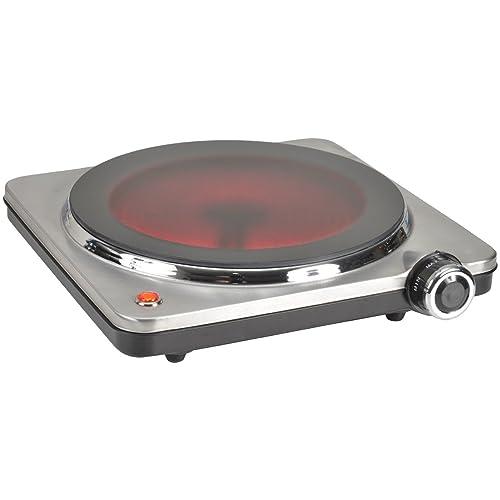 Kitchen Chef HP102-T10 Réchaud Electrique 1 Feu Inox Vitrocéramique 1500 W