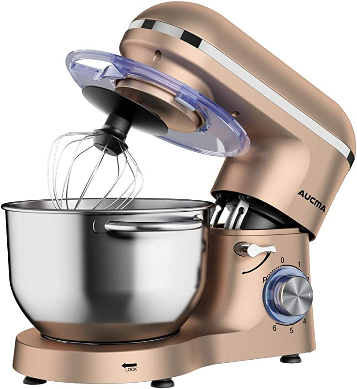 Aucma Stand Mixer 6 5 QT 660W 6 Speed Tilt Head Food Mixer Kitchen Electric Mixer With Dough Hook Wire Whip Beater 6 5QT Champagne