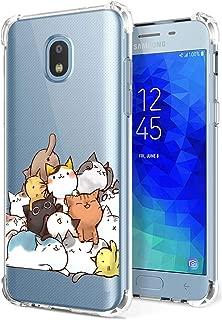 Galaxy J3 Orbit Case Clear with Cute Cat Design Shockproof Bumper Protective Slim Fit Rubber Back Cover for Samsung Galaxy J3 2018/ J3 Star/ J3 Achieve/ Amp Prime 3/ J3 Express Prime 3/ J3 V/ J3 Aura