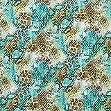 Fabulous Fabrics Jerseystoff Lochmuster Leoprint – grün