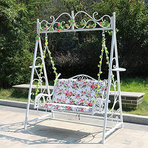 DNNAL Patio Swing Chair, Balkon Chair Lounge Chair Outdoor Courtyard Garten Schaukelstuhl Schmiedeeisen Kinder Gartenmöbel für Hotel, Park, Garten, Bar