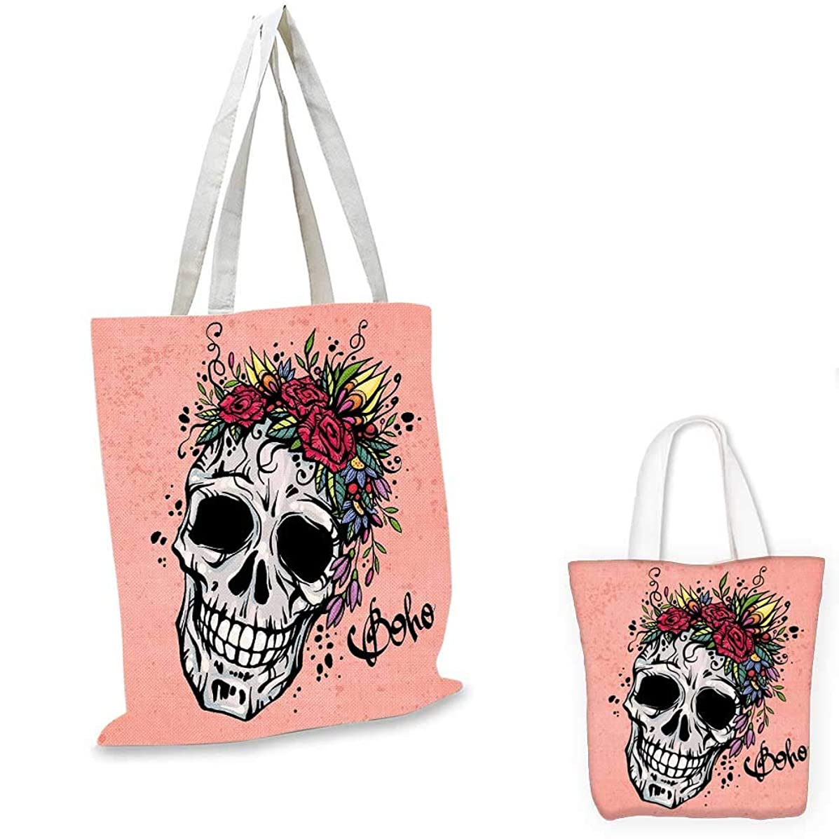 Rose ultralight shopping bag Day of the Dead Inspired Design of a Skull with Festive Floral Wreath Boho Style travel shopping bag Coral Multicolor. 13