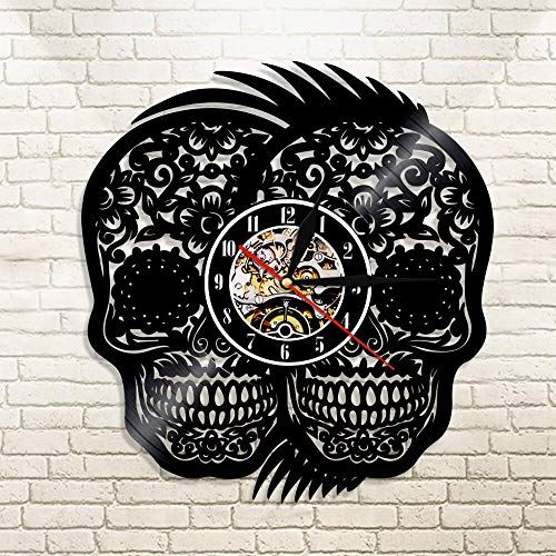 UIOLK Day of the Dead Skull Discoloration Vinyl Record Wall Clock Decoration Wall Clock Time Wall Clock