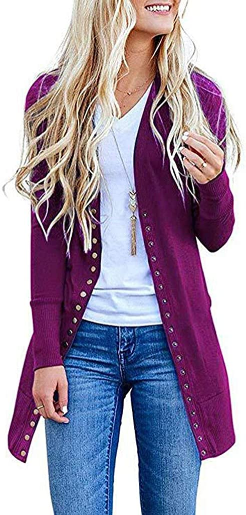 AODONG Cardigan for Women Lightweight Long Open Front Cardigan Knitted Sweater Long Sleeve Outerwear
