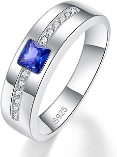 خواتم بونلافيي فضية للرجال مكون من خاتم زفاف الياقوت 925 فضة استرليني الأميرة قص مكعب زركونيا خاتم الخطوبة حجم 6-9