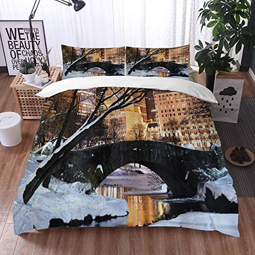 Yuxiang Bedding Sets Duvet Cover Set, NYC New York City Manhattan Central Park Lake Bridge in Freezing Winter at Dusk Panorama,3-Piece Comforter Cover Set 220 x 240 cm +2 Pillowcases 50 * 80cm