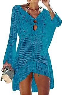 386c19fad2 Tacobear Women Beachwear Bikini Cover Up Swimwear Swimsuit Hollow Out V  Neck Knit Beach Bathing Cover