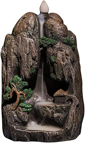 Backflow Incense Burner Mountain Incense Burner Waterfall Smoke Stream Incense Burners Resin Incense Holder With 10 Cones Mountian