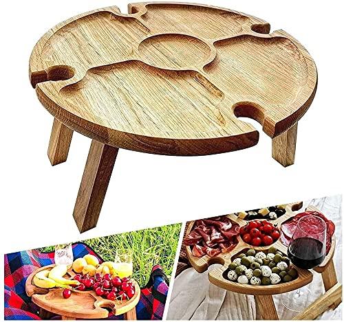 Mesa de picnic plegable de madera con soporte para copas de vino portátil 2 en 1 mesa de picnic y plato compartimentario para queso y fruta ideal para camping, playa jardí fiesta y viajes