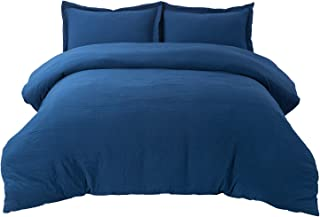 Bedsure Duvet Cover Set with Zipper Closure Twin Size(68x90 inches) - Ultra Soft Hypoallergenic Microfiber, Navy Blue