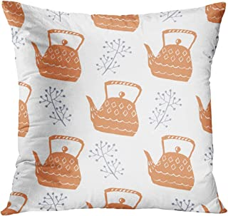 Lichtion Throw Pillow Cover Print Hygge Textile Seamless Pattern Backdrop Background Blue Breakfast Cafe Cake Decorative Home Decor Soft Bedroom Sofa Car Pillowcase Cushion Couch 20 x 20 Inch