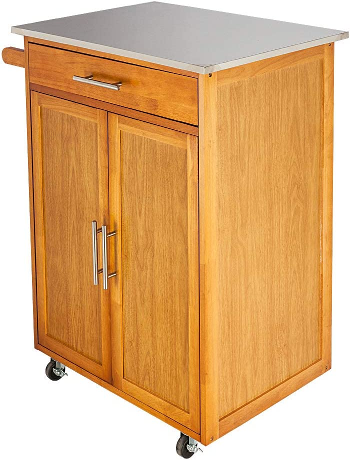 Premium Moveable Kitchen Cart Trolley Outlet ☆ Free Shipping Doors Stainles with Double Finally resale start