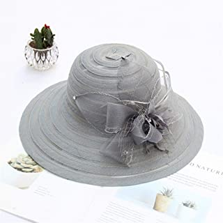 SHENTIANWEI Lei mesh Gauze Female Summer Sun hat Striped Beach hat Travel hat Fashion Flowers (Color : Grey, Size : Adjustable)