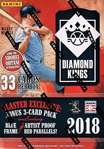 2018 Donruss Diamond Kings Baseball Factory Sealed Blaster Box of Packs including EXCLUSIVE Mickey Mantle Collection Cards and Artist Proof Red or Blue Frames