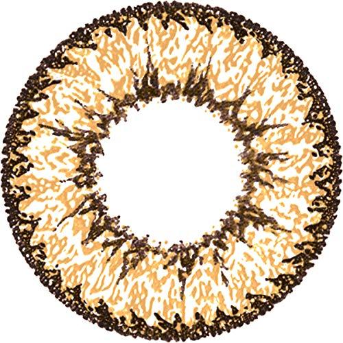 Matlens - Pro Trend Farbige Kontaktlinsen ohne Stärke braun brown Super Nudy Big Eyes 15.00mm PCW-234 2 Linsen 1 Kontaktlinsenbehälter 1 Pflegemittel 50ml