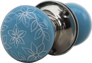 Indian-Shelf Handmade 2.25 Inch Ceramic Daffodil Vintage Door Pulls Cupboard Handles (Turquoise, 1-Piece)