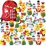 48 Christmas Holiday Rubber Ducks Bulk Variety Pack with 1 Ho Ho Ho Drawstring Bag - Rubber Duckies Stocking Stuffers - Kids Party Favors