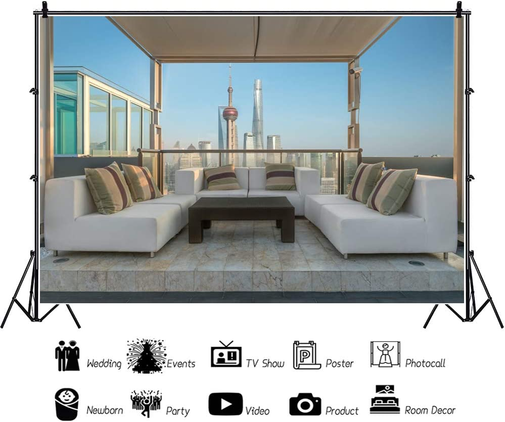 YEELE 8x6ft City Shanghai Backdrop Luxury Lounge in Rooftop Photography Background Video Conference Recording Home and House Design Hotel Apartment Villa Decoration Photoshoot Props Vinyl Wallpaper