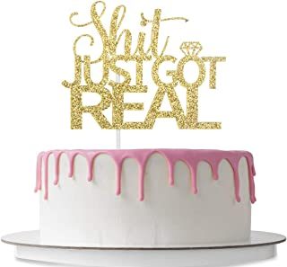 Shit Just Got Real Cake Topper with Diamond, Funny Wedding party Decoration Supplies, Marriage & Engagement, Bridal Shower, Pregnancy Announcement, Double Sided Gold Glitter